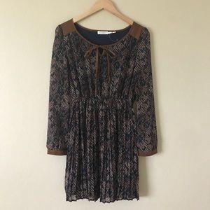 Blu pepper Python Print Dress Long Sleeves